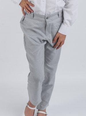 Pantalon lin gris fille pour cérémonie, mariage….du 2 au 16 ans.