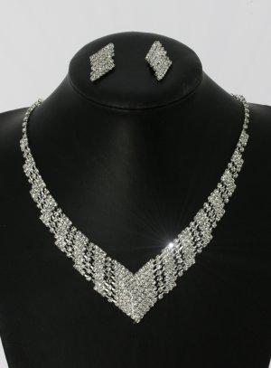 Parure bijoux femme pas cher collier + boucles strass