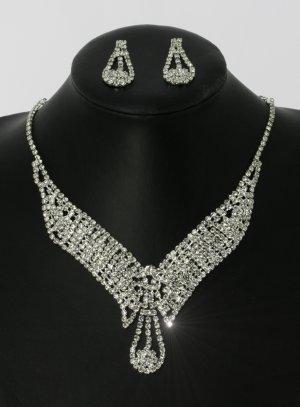 parure bijoux collier col strass avec pendants