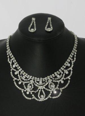 parure bijoux femme pas chère pour mariage argenté avec strass