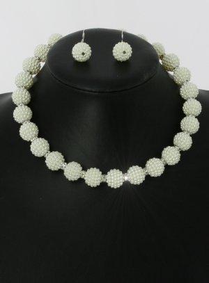 parure bijoux perle mariage ivoire avec boucles d'oreilles