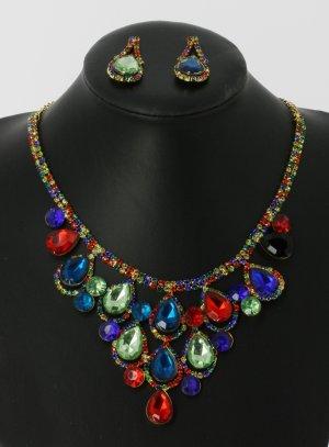 parure bijoux multicolore soirée mariage pas cher