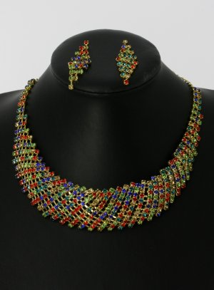 parure de bijoux pour soirée multicolor collier strass + boucles