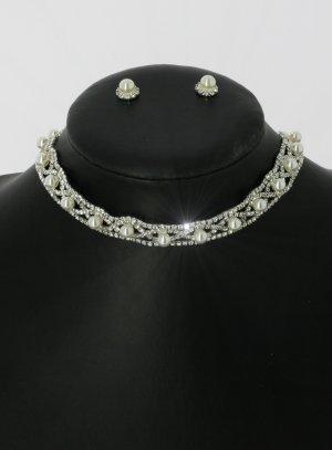 Parure collier boucle femme perle et strass