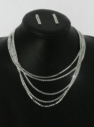 Collier multirang strass - bijoux soirée argenté