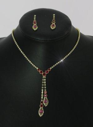 parure mariage rose fushia - bijoux de soirée pas cher