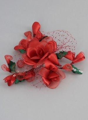 peigne pour coiffure de soirée femme fleurs rouges en tissu
