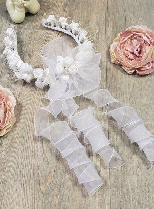 couronne de communion ouverte avec fleurs
