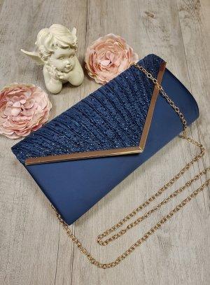pochette soirée femme satin bleu marine diamant synthétique