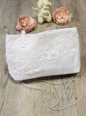 Pochette mariage blanche avec dentelle