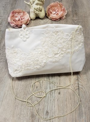 pochette mariage, sac de mariée ivoire - ecru