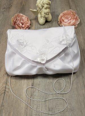 Pochette mariage broderie et fleurs blanche