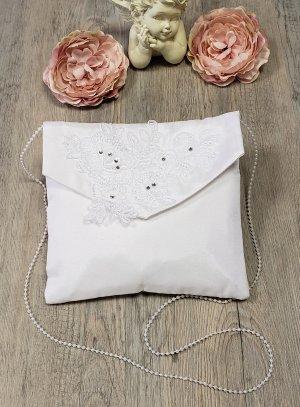Pochette de mariage carré satin blanc et dentelle