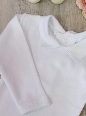Body polo bébé blanc avec col. Pression dans le dos