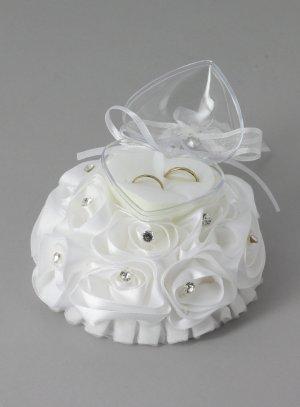 boite porte alliance mariage blanche fleurs et strass