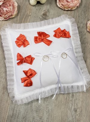Porte alliances blanc noeud ruban rouge