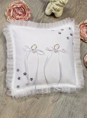 Porte alliances blanc strass en fleur