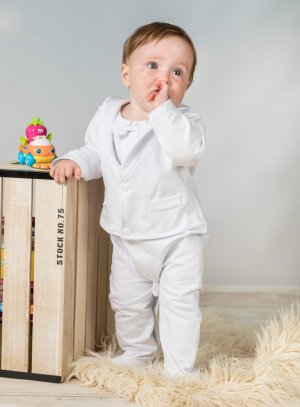 pyjama costume baptême blanc pour garçon