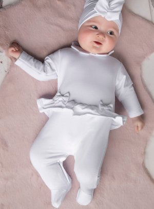 Pyjama blanc baptême bébé fille Anna