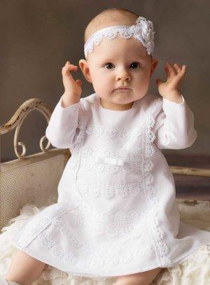 Robe de baptême manches longues avec dentelle pour bébé fille