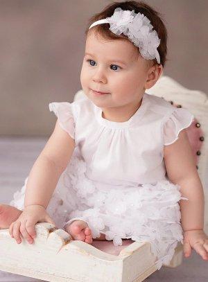 Robe baptême blanche Jeanne fleurs scintillante