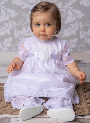 Robe baptême + culotte dentelle blanc bébé fille