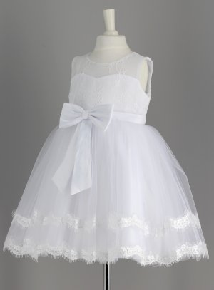Robe de baptême blanche avec nœud satin