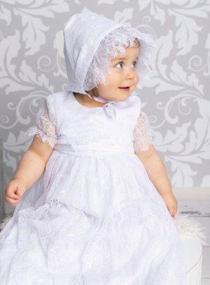 robe baptême longue dentelle fine bébé fille