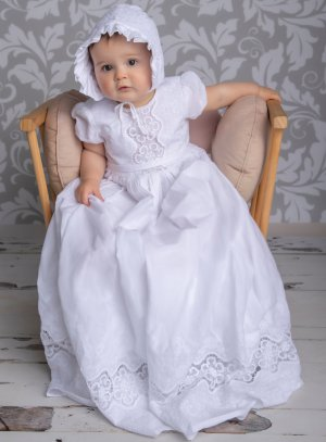 Robe baptême longue coton brodé + béguin bébé fill