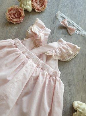 robe bretelle coton mariage petite fille rose