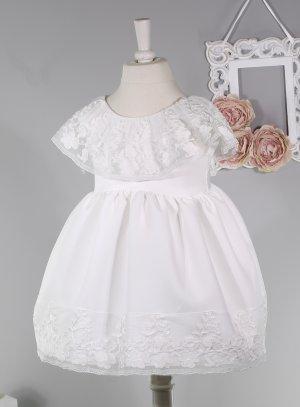 robe cérémonie mariage baptême petite fille avec dentelle blanche
