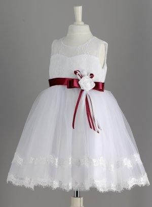 robe bébé ceremonie mariage blanc et bordeaux