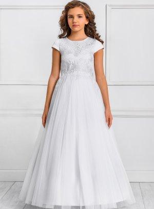 Robe de cérémonie fille collection Luxe modèle Daniella blanche mariage baptême communion