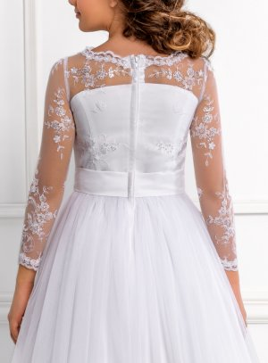 Robe de cérémonie fille collection Luxe modèle Linda blanche