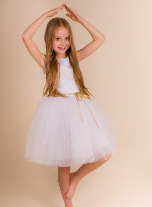 robe cérémonie fille ballerine blanche ceinture or