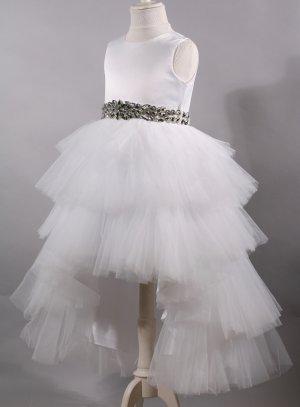 robe princesse mariage enfant ceinture blanc