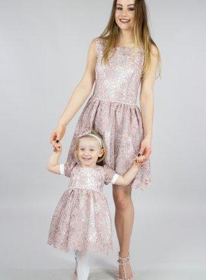 robe mère fille mariage rose dentelle