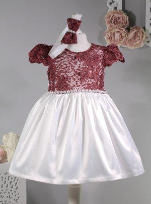 Robe cérémonie bébé fille bordeaux et blanc