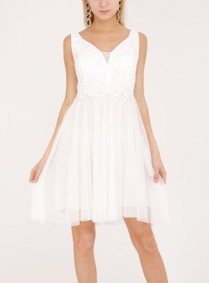 Robe de soirée ivoire blanche courte pour femme
