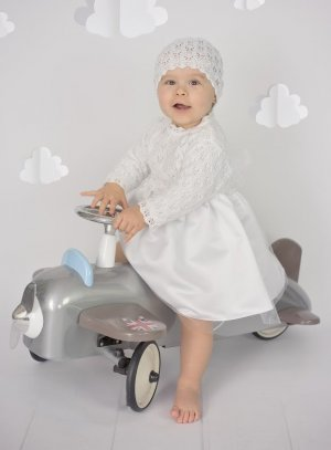 Robe crochet bébé Valentine + bonnet