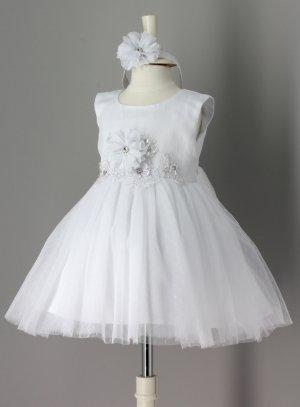 Robe de baptême blanche bébé pas chère avec bandeau pour princesse