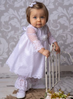 Robe baptême + bloomer bébé fille