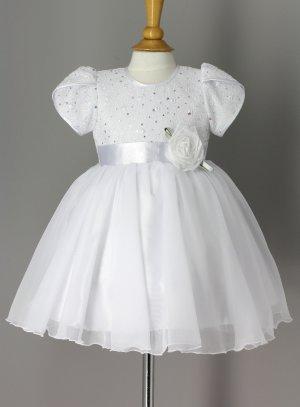 Robe de baptême blanche bébé fille manches courtes tulipe modèle Ayaa
