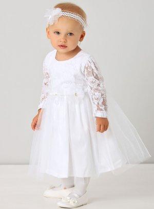 Robe baptême bébé fille manches longues dentelles blanche