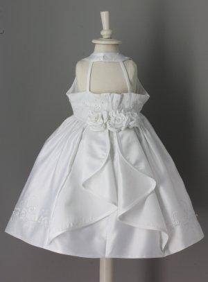 robe bapteme princesse blanche avec broderie et rose