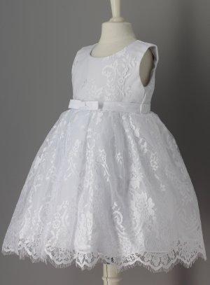 Robe de baptême bébé blanche dentelle et noeud Naomie