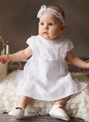 Robe de baptême ou cérémonie pour bébé avec dentelle blanche