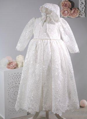 robe baptême longue bébé fille avec bonnet béguin