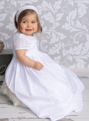 Robe de baptême longue coton bébé fille