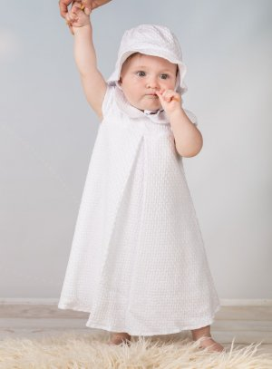Robe de baptême longue en coton